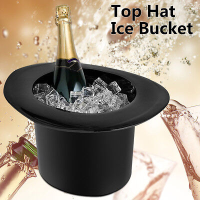 Top Hat Ice Bucket For Serving Wine Champagne Acrylic 4L Drinking Cooler Black