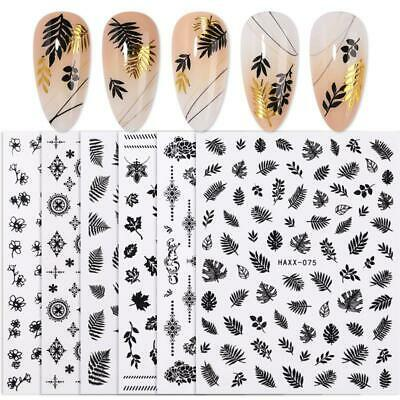 Geometric Holo Adhesive Nail Art 3D Decals Gold Silver Black Transfer Stickers