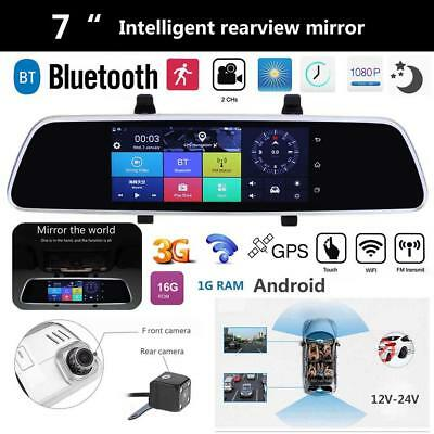 """7"""" Android Smart GPS Navigation HD Car Rearview Mirror DVR Dual Lens Camera Wifi"""