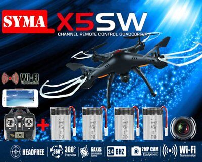 LOT Syma X5SW Wifi FPV Explorers 2.4G 4CH RC Quadcopter Drone HD Camera Black BP
