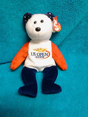 """Retired Ty Beanie Baby """" Smash """"  - Us Gold Open 2005 Tennis Bear - Mwt"""