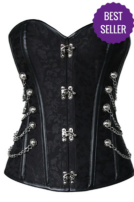 NEW Steel Boned Black Steampunk Corset With Chains Corsets
