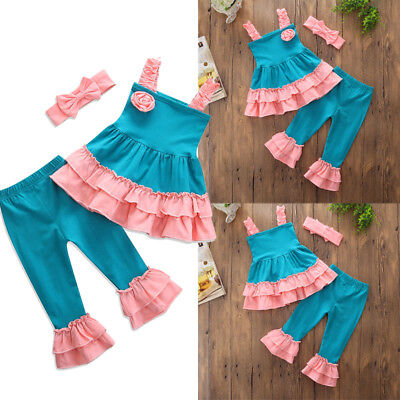 US Kids Baby Girls Outfits Clothes Sleeveless Top Dress+Long Pants Headband 3PCS