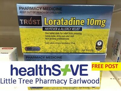 New Sealed Trust Loratadine 10Mg - Same As Claratyne - 100 Tablets - Free Post