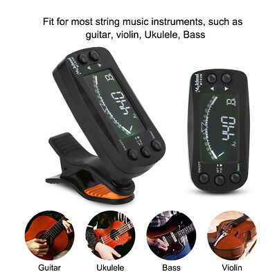 2 In 1 LCD Digital Tuner Metronome Clip-on 360° for Guitar Bass Violin Ukulele