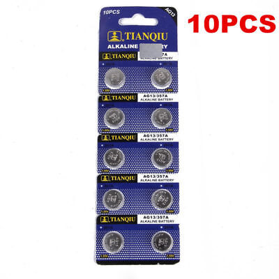 Top 10PCS AG13 LR44 SR44 L1154 357 A76 Button Coin Cell Pack Alkaline Batteries