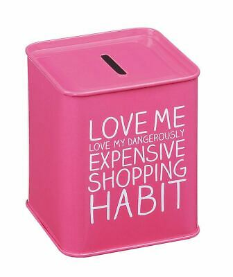 Happy Jackson Expensive Shopping Habit Rose Tirelire Boite Métal