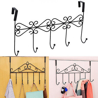 5 Hanger Black Towel Hat Coat Clothes Wall Hook Over Door Bathroom Tool
