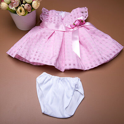 "Handmade Pink Plaid Bowknot Dress & Briefs Set Doll Clothes For18"" Girl Doll ^"