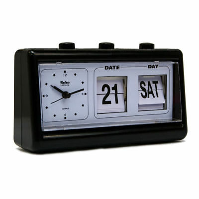 NEW RETRO QUARTZ ALARM CLOCK FLIP Display With Date & Time BLACK