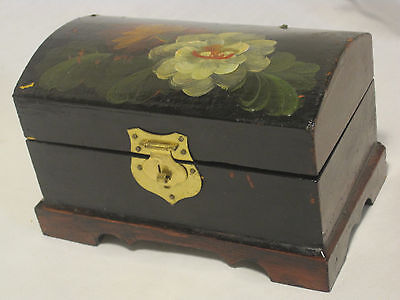 vintage wooden trinket box painted treasure chest hinged wood container metal