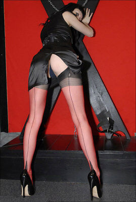 Eleganti Fully Fashioned Stockings - RED / BLACK CONTRAST *Ltd Ed* - Imperfects