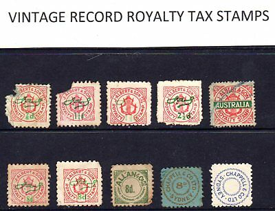Group of 10 - Old royalty revenue stamps from 78 rpm Records / Pianola rolls