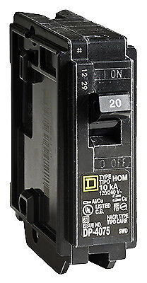 Homeline 20 Amp Single Pole Circuit Breaker, Square, HOM120CP