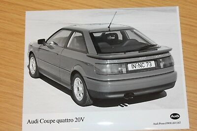 Audi Coupe Quattro 20V Rear View  1897 Large Format Press Photograph