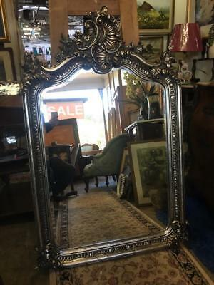 Large Ornate Wall / Over Mantle Bevelled Mirror...with Silver Metallic Finish