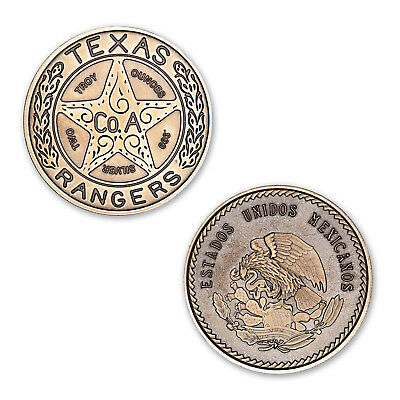 Texas Rangers Lone Star Badge 2 oz .999 Silver Antiqued Finish CHUBBY USA Round
