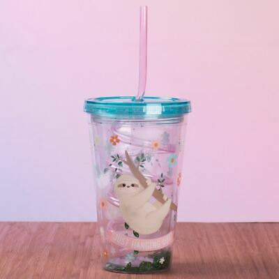 Sloth Straw Cup Sipper Cup Plastic Drinking Cup with Straw & Lid