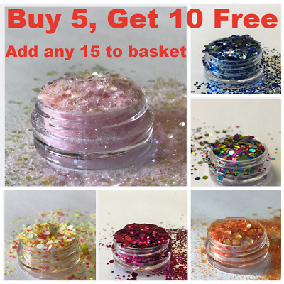 Chunky Glitter Loose Mix Pot Eye Shadow Nail Face Tattoo Festival Club Cosmetic