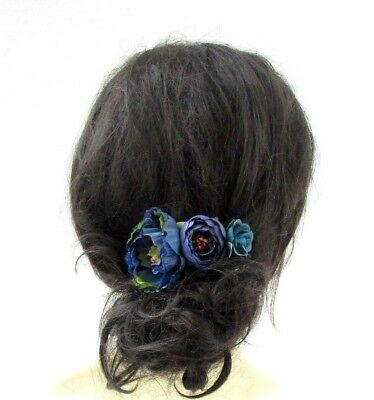 Teal Royal Blue Peony Rose Flower Hair Comb Fascinator Bridesmaid Headpiece 5155
