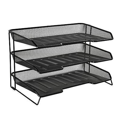 Rolodex Mesh Collection 3-Tiered Desk Tray, Black