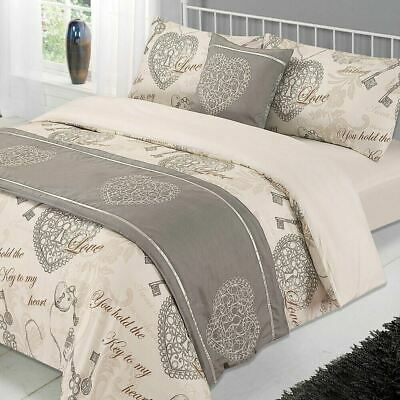 Complete Duvet Cover Bedding Set Valentine Bed in a Bag - Grey Natural, 6 Piece