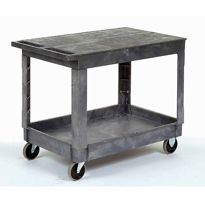 Plastic Flat Top Shelf Service & Utility Cart - 5 Inch Rubber Casters, Lot of 1