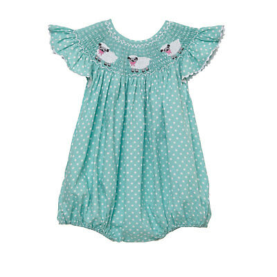 Mint Lamb Smocked Romper NEW * Easter bubble girl boutique *