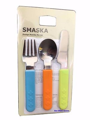 IKEA SMASKA Children Kids Stainless steel Spoon Fork Knife 3 Piece Cutlery Set