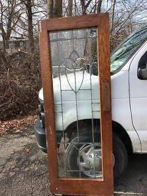 Oxf 15 Antique Oak All Beveled Glass Tulip Swing Door 29.5 X 78x 1.75