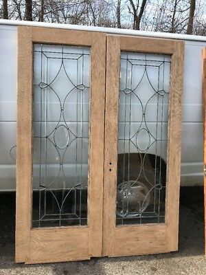 OXF 17 Match Pair Antique Oak French Doors Leaded Beveled Glass 59.25 X 79
