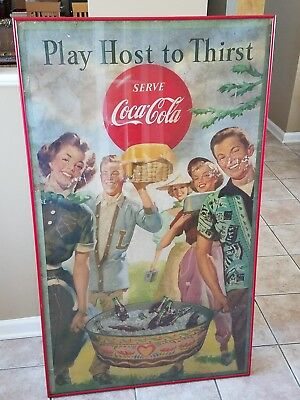 Vintage Large Coca Cola Poster Coke Soda Play Host to Thirst Serve 50x30
