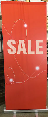 "(LOT-5) 33"" x 80"" Metrix Retractable Stand w/Fabric Banner ""SALE"" Advertising"