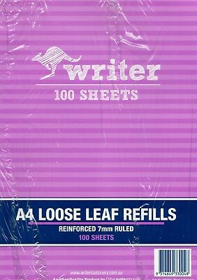 Writer A4 Loose Leaf Reinforced 7mm Ruled 7 Holes100 Sheets NP6004