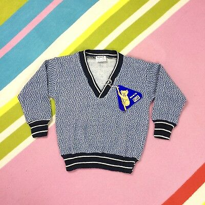 New 70s Vtg Kids Blue Sweater Speckled Fine Knit Fleece Lined V Neck Jumper 3 4