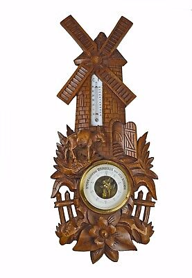 Antique Mill and Donkey Carved Barometer / Thermometer, Dutch.