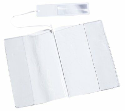 "Clear Book Protector Cover with Book Marker and Magnifier 7.5"" x 5"" (2 Pack"