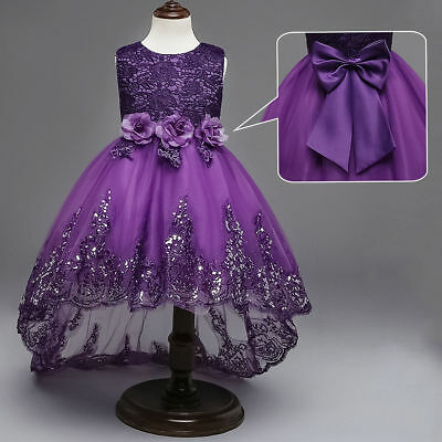 Kids Flower Girl Bow Princess Dress for Girls Party Wedding Bridesmaid Gown O04