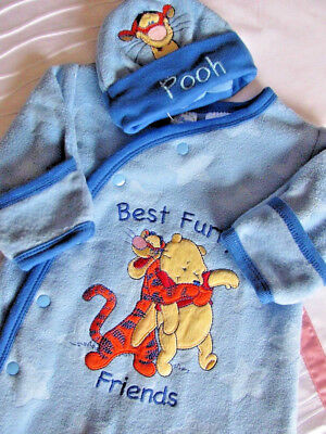Adorable Baby Boy Winnie The Pooh & Tigger Warm Winter Romper Outfit With Hat