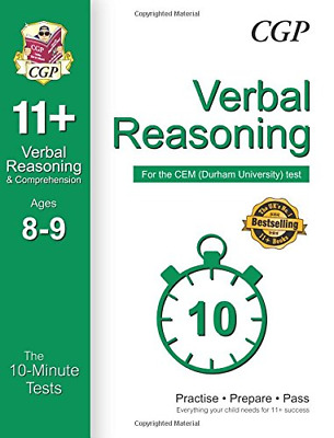10-Minute Tests for 11+ Verbal Reasoning Ages 8-9 - CEM Test (CGP 11+ CEM)