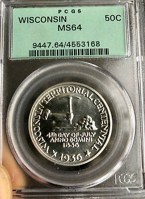 1936 Wisconsin Silver Commemorative Half Dollar - NGC MS-64 - Mint State 64