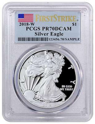 2018 W Proof American Silver Eagle PCGS PR70 DCAM First Strike Flag Label