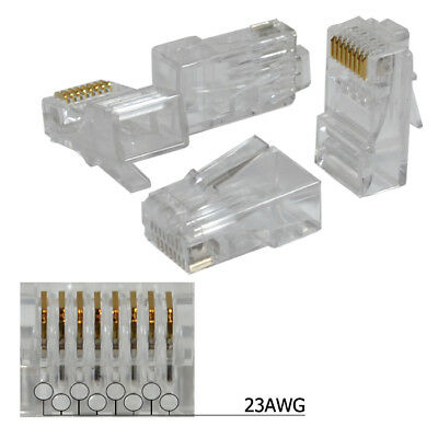 100 pieces RJ45 8P8C CAT6 Modular plug ethernet gold plated network connector