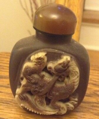 Chinese inked Poem on Hard Stone Hand Carved Dragon Snuff Bottle