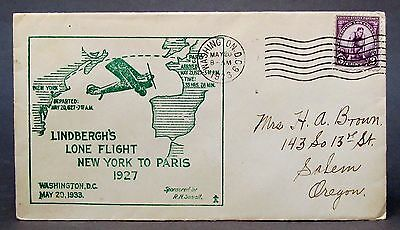 1933 LINDBERGH'S LONE FLIGHT 6th Anniversary Sowell CACHET envelope cover