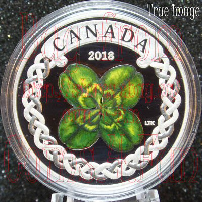 2018 - Lucky Four Leaf Clover - 1 OZ $20 Pure Silver Proof Coloured Coin Canada