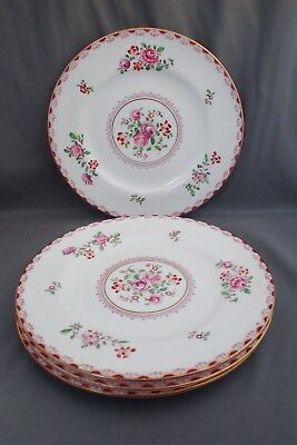 4 Crown Staffordshire Bone China Salad Luncheon Plates A5782 Pink Roses Nos