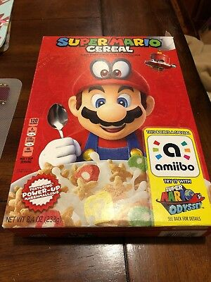 Empty Super Mario Cereal 8.4 Oz Box  - Amiibo for Super Mario Odyssey