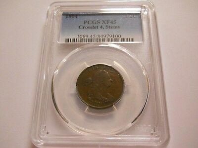 1804 Draped Bust Half Cent Crosslet 4 Stems Pcgs Xf45 1/2C