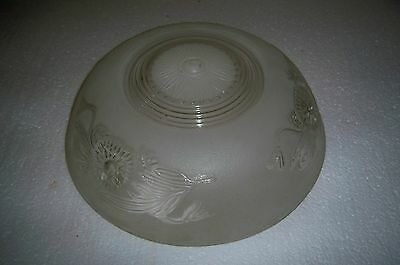 Vintage round glass ceiling light fixture shade frosted and clear glass floral